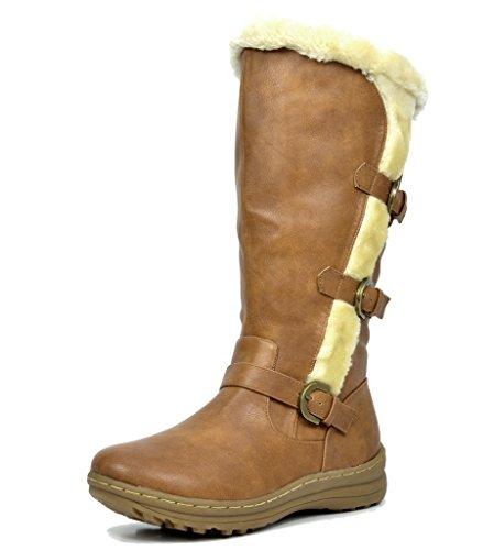 TRAUM-PAAR-Frauen Winter voll Pelz gefüttert Reißverschluss Schnee kniehohe Stiefel Minx-Kamel Pu