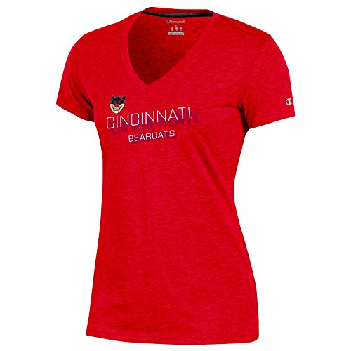 Champion NCAA Cincinnati Bearcats Adult Women Short Sleeve V Neck Tee, Small, Red Heather Adult Short Sleeve Heather