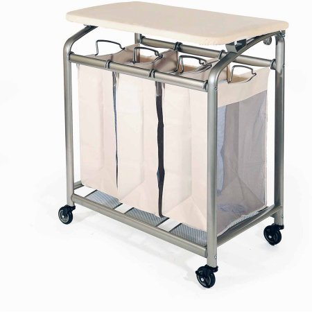 Seville Classics Deluxe Mobile 3-Bag Heavy-Duty Laundry Hamper Sorter Cart with Folding Table