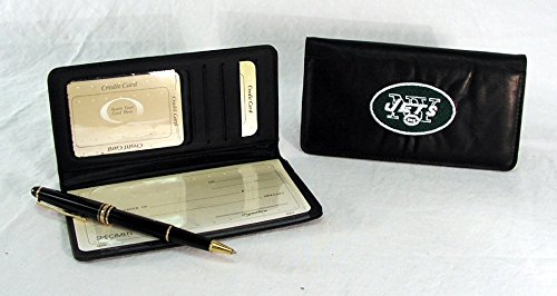 (NFL New York Jets Embroidered Genuine Cowhide Leather Checkbook Cover)