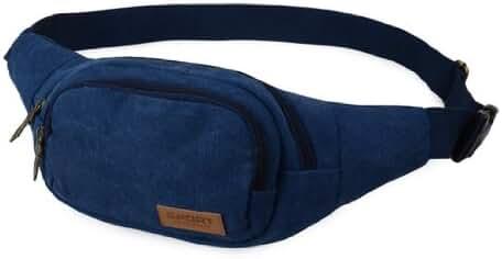 JTC Men Waist Bag Casual Travel Sport Zipper Canvas Solid Adjustable Fanny Pouch