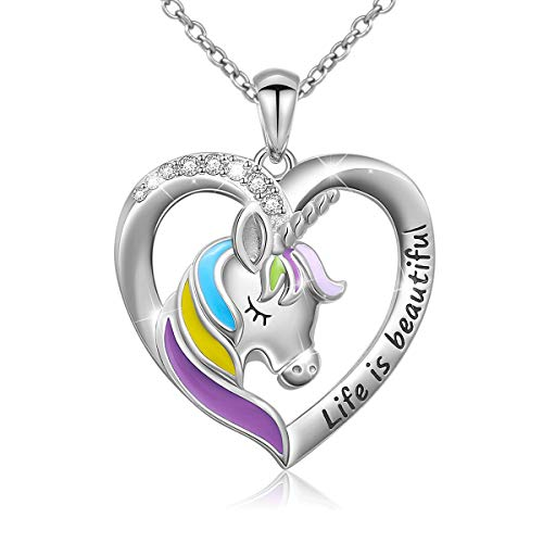 925 Sterling Silver Engraved Life is Beautiful Rainbow Unicorn in Heart Necklace, Rolo Chain 18