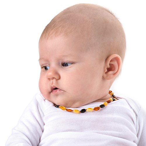 Baltic Amber Teething Necklace Gift Set + FREE Silicone Teething Pendant ($15 Value) Handcrafted, 100% USA Lab-Tested Authentic Amber - Natural Teething Pain Relief (Unisex - Multicolor - 12.5 Inches)