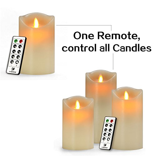 Comenzar-Battery-Operated-5-Inch-6-Inch-7-Inch-Flickering-Flameless-LED-Candles-with-10-Key-Remote-Timer-Set-of-3