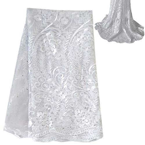 Lacerain 5 Yards Nigerian African lace Fabric French Flower Design Embroidered Tulle lace Fabric for Party Wedding Dress (White)