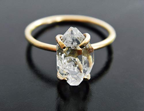 Yellow Gold Fill Herkimer Diamond Quartz Crystal Ring