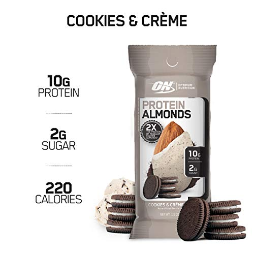 Optimum Nutrition Protein Almonds Snacks, On The Go Nutrition, Flavor: Cookies & Cream, Low Sugar, Made with Whey Protein Isolate, 1.5 OZ (12 Count)