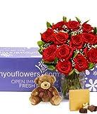 Flowers - One Dozen Long Stemmed Red Roses + Godiva + Bear