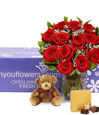 Flowers - One Dozen Long Stemmed Red Roses + Godiva + Bear by From You Flowers