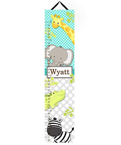 (Toad and Lily Canvas GROWTH CHART A to Z Jungle Alphabet Animals Babies Bedroom Baby Nursery Wall Art GC0066 )