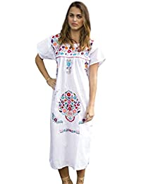 Embroidered White Mexican Peasant Dress (3X)