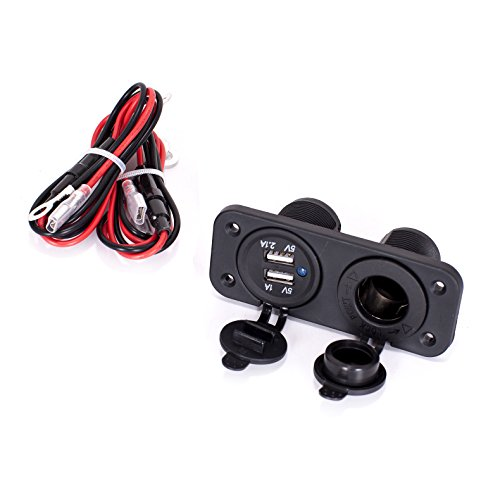 Ginsco Cigarette Lighter Socket Splitter 12V Dual USB 2A/1A Charger Power Adapter Outlet for Car Boat Marine Motorcycle Scooter RV DIY Kit (Black) ()