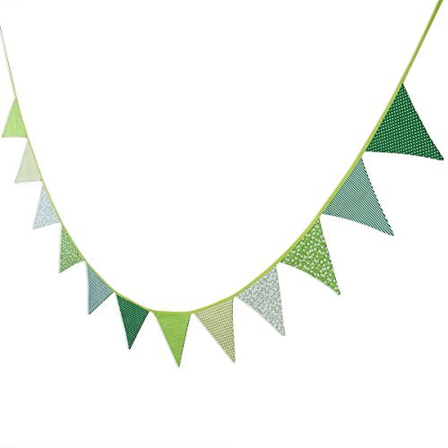 Green Banner (WINOMO 12pcs Banners Garlands Vintage Bunting Floral Banner Party)