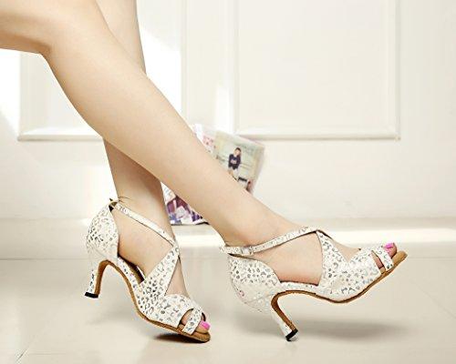 Blanc daim talons Minitoo femmes danse Salsa de pour haut Motif en Latin chaussures évasé wTxOaq