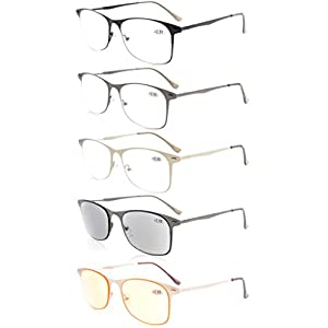 Eyekepper 5-pack Quality Spring Temples Metal Reading Glasses Include Sun Readers Computer Eyeglasses +2.5