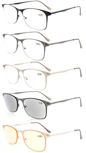 Eyekepper 5-pack Quality Spring Temples Metal Reading Glasses Include Sun Readers Computer Eyeglasses - Frames Eyeglass On Try At Home