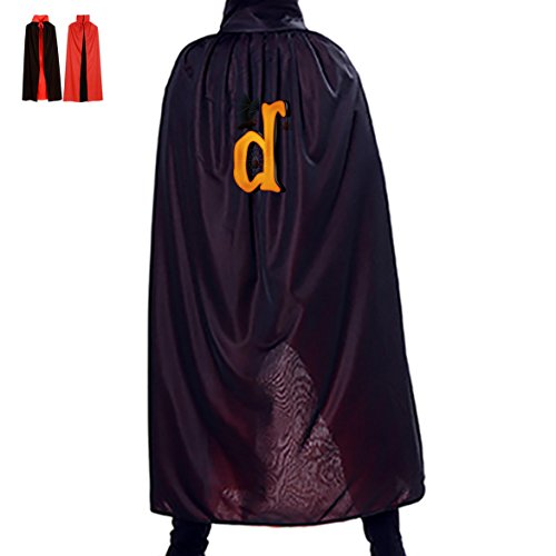 [Name Letter D Monogram Wizard Cape Robe Cloak Cowl for Children Adults Halloween] (Homemade Adult Halloween Witch Costumes)