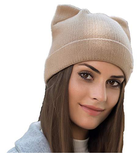 Penny's Women Cat Ear Beanie Hat Wool Braided Knit Trendy Winter Warm Cap Khaki One Size