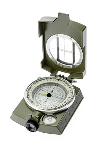 ensatic & Prismatic Sighting Survival Emergency Compass with Pouch (Lensatic Lens Compass)
