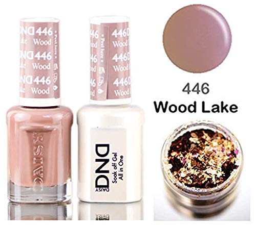Daisy DND Neutrals Soak Off GEL POLISH DUO, All In One Gel Lacquer + Matching Nail Polish Color for Nails (with bonus side Glitter) Made in USA (Wood Lake (446))