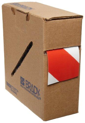 Tape Marking Red Aisle (Brady ToughStripe Nonabrasive Diagonal Stripes Floor Marking Tape, 100' Length, 2