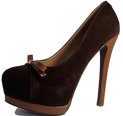 3-W-Hohenlimburg Elegante Pumps High Heels, Ausführungen in: Schleife, Samt Etc. Topmodern, Damenschuhe, Schuh für Damen, Topaktueller Trendschuh in Verschiedenen Farben Braun mit Schleife.