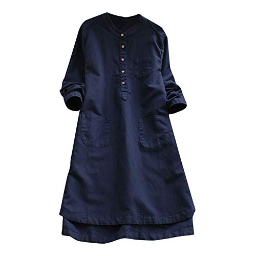 POQOQ Dress Women Retro Long Sleeve Casual Loose Button Tops Shirt Pocket L Blue