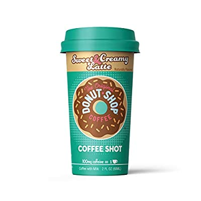 Donut Shop Coffee Shots - 100mg Caffeine, Sweet & Creamy Latte, Tasty coffee energy boost in a ready-to-drink 2-ounce shot, 6 pack