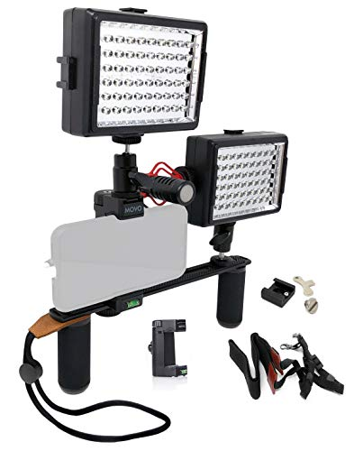 Movo PR2-CREATOR Smartphone Dual-Grip Handle Video Rig with Shotgun Mic & 2 LED Lights ~ Compatible with iPhone