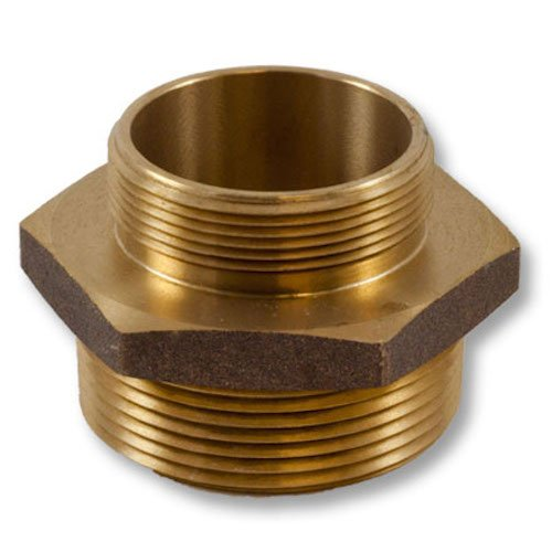 Brass Hex 2 1/2'' NH to 2'' NPT Double Male Fire Hose Adapter