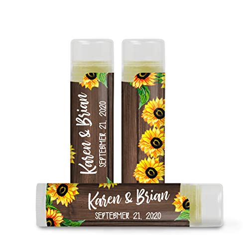 Faux Wood and Sunflowers Lip Balm Favor Labels - set of 24 Stickers