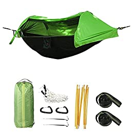 Camping Hammock with Mosquito Net and Rainfly Cover, Lightweight Portable Hammock for Outdoor Backpacking Hiking Travel