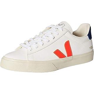 Veja Men's Campo Sneakers, Extra White/Orange Fluo/Cobalt, 10 Medium US