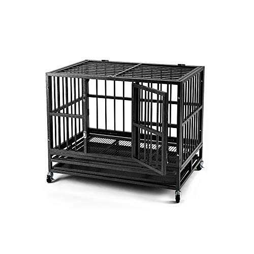 KOOLWOOM Heavy Duty Dog Crate Kennel Wheels/Steel Tray Large Medium Dogs Strong Metal Black 37inch/42inch/48inch