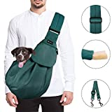SlowTon Pet Carrier, Hand Free Sling Adjustable Padded Strap Tote Bag Breathable Cotton Shoulder Bag Front Pocket Safety Belt Carrying Small Dog Cat Puppy Up to 13 lbs Machine Washable (Green)
