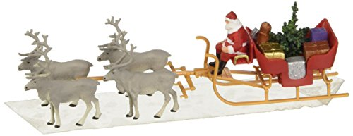 Santa Uses Reindeer (Preiser 30399 Christmas Sleigh Includes Santa, Packages & 4 Reindeer HO Model Figure)