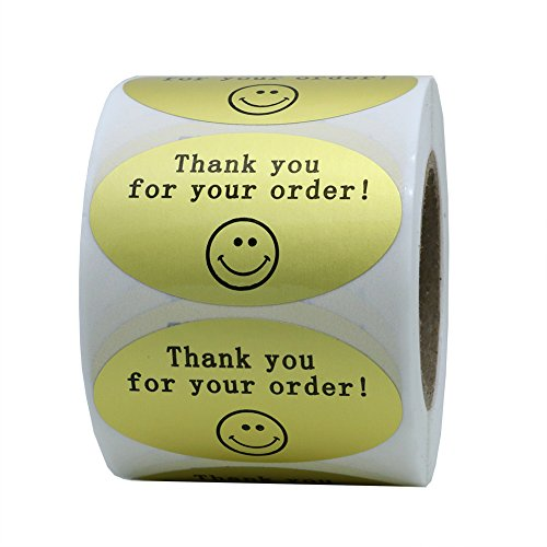 Hybsk 50mmx30mm Oval Gold Metallic Foil THANK YOU FOR YOUR ORDER Retail Mailing Stickers 500 Labels Per Roll (1 Roll)