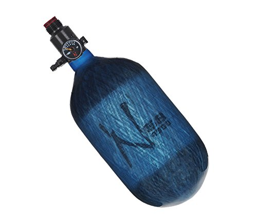 Ninja Paintball Compressed HPA Air Tank w/ Adjustable Regulator (ALL COLORS / SIZES) (68/4500 Carbon, Std Adj Reg, Translucent Blue, 68ci)