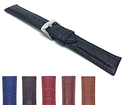 18mm - 26mm Mens' Alligator Style Genuine Leather Watch Strap Band, Comes in Black, Brown, Blue, Red, Tan and Dark Tan