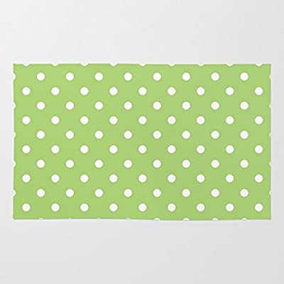 Society6 Elegant, Modern, Trendy, Cool, Simple Lime Green And White Polka Dots Graphic Pattern. Rug