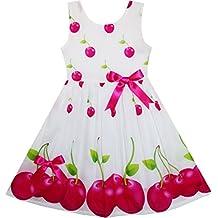 Sunny Fashion Girls Dress Pink Dot Flower Embroidered