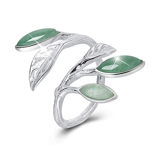 Lotus Fun ♥Gift for Christmas♥ S925 Sterling Silver Rings Spring in The Air Leaves Open Ring Handmade Jewelry Unique Gift for Women and ()