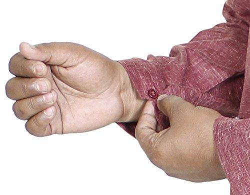 Baumwolle Kurta für Ihn, Indisches Herrenhemd in Ziegel Braun mit Klassischer Stickerei
