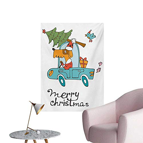 Anzhutwelve Christmas Photo Wall Paper Blue Vintage Car Dog Driving with Santa Costume Cute Bird Tree and Gift PresentWhite Multi W24 xL36 Poster Print ()