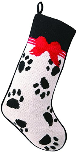Pet Paw Prints and Bows Festive Needlepoint Christmas Stocking