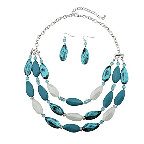 Bocar 3 Layer Beads Statement Necklace Earring for Women Jewelry Set (NK-10077-teal)]()