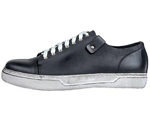 Black Santimon Retro Leather Mens Punk Fashion Shoes up Casual Lace Rivet Sneaker PqfrPcAgB