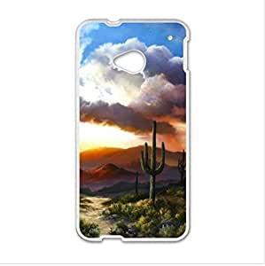 Case,Desert Cactus Sunset HTC One M7 (Laser Technology) Case, Cell Phone Cover