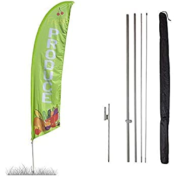 Vispronet - Produce Feather Flag Kit - 13.5ft Knitted Polyester Swooper Flag with Pole Set