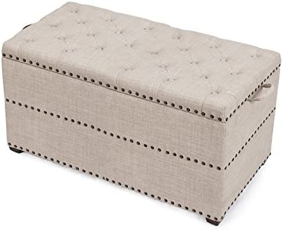 Asense 18 inch Height Fabric Rectangle Tufted Lift Top Storage Ottoman Bench